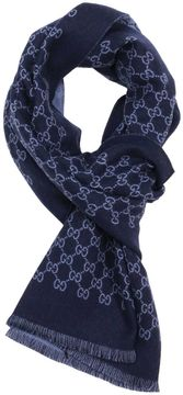 Gucci Scarf 33 X 175 Cm Scarf In Pure Reversible Wool With Monogram