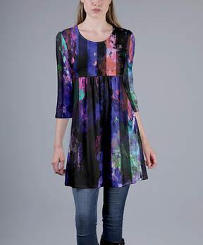 Azalea Purple & Black Abstract Empire-Waist Tunic - Women & Plus