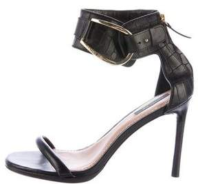 Rachel Zoe Embossed Leather Ankle Strap Sandals