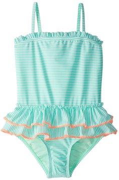 Hula Star Girls' Sailor Stripe One Piece Swimsuit (2T6X) - 8154256