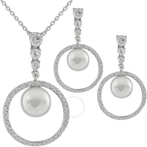 Bella Pearl Sterling Silver Circle Pendant and Earring Set