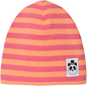 Mini Rodini Pink Ribbed Stripe Beanie