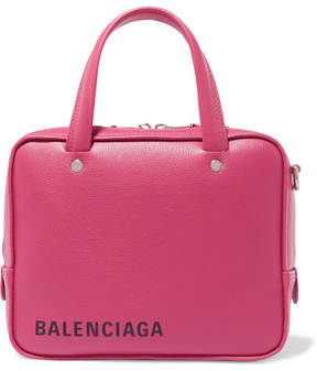 Balenciaga Triangle Square Xs Printed Textured-leather Tote - Pink