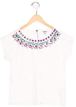 DKNY Girls' Crystal-Embellished Short Sleeve Top