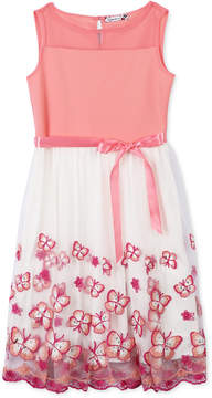 Speechless Embroidered Butterfly Tulle Dress, Big Girls