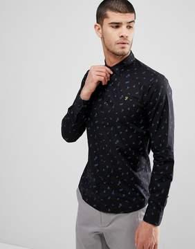 Farah Muybridge Slim Fit All Over Print Shirt In Black