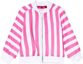 Agatha Ruiz De La Prada Pink And White Striped Bomber Jacket