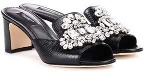 Dolce & Gabbana Crystal-embellished leather sandals