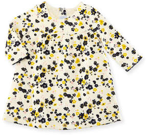 Petit Bateau Long-Sleeve Floral Print Dress, Size 3-36 Months