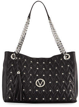 Mario Valentino Valentino By Verra D Quilted Sauvage Leather Tote Bag