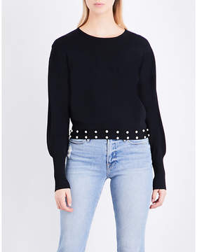 Claudie Pierlot Michi faux-pearl-embellished knitted jumper
