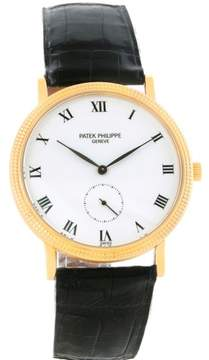 Patek Philippe Calatrava 3919 18K Yellow Gold & Leather Porcelain Dial Manual 33mm Mens Watch