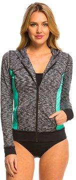 Anne Cole Women's Heather Colorblock Elastic L/S Hoodie Jacket 8137379