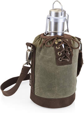 Picnic Time Khaki Green & Brown Insulated Growler Tote & Steel Growler
