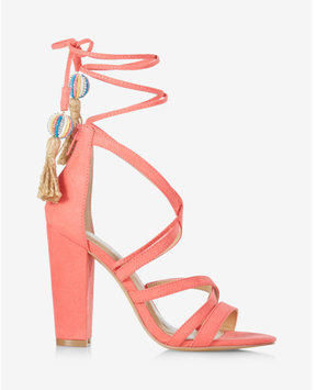 Express strappy tassel tie heeled sandals