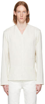 Lemaire Off-White V-Neck Collar Shirt