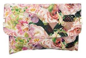 Stuart Weitzman Floral Embossed Leather Clutch