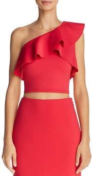 GUESS Molly Ruffled One-Shoulder Cropped Top