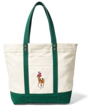 Ralph Lauren Canvas Big Pony Tote Natural/Green One Size