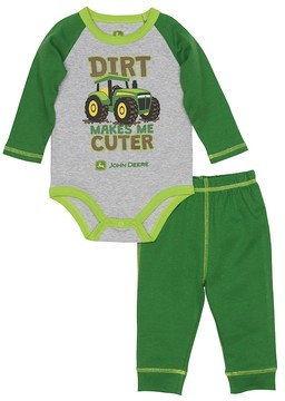 John Deere Baby Boy Dirt Makes Me Cuter Raglan Bodysuit & Pants Set