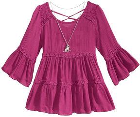 Beautees Lace-Trim Peasant Top & Necklace Set, Big Girls (7-16)