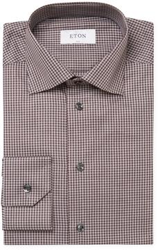 Eton Men's Check Print Slim Fit Dress Shirt