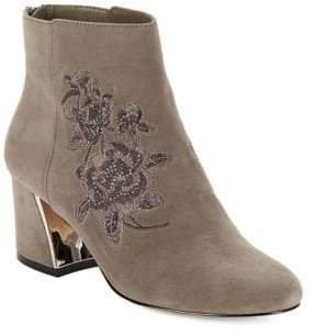 424 Fifth Elena Almond Toe Suede Booties