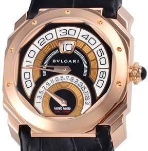 Bvlgari Octo Retrogradi Black Lacquered Dial 18kt Pink Gold Men's Watch