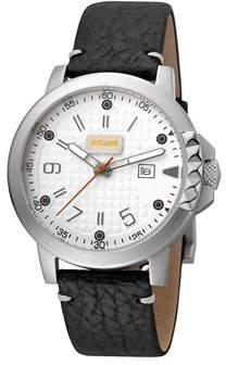 Just Cavalli Men's Rock Rock Quartz Black Leather Strap Watch.