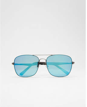 Express blue tinted lens aviator sunglasses