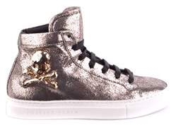 Philipp Plein Women's Gold Leather Hi Top Sneakers.