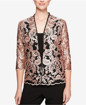 Alex Evenings 3/4-Sleeve Embroidered Jacket & Shell