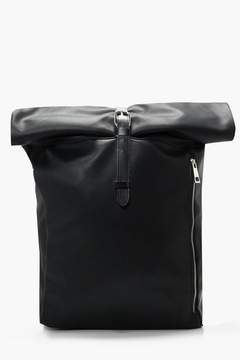 boohoo PU Roll Top Back Pack With Zip Detail