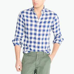 J.Crew Mercantile Slim linen shirt in plaid