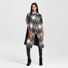 Cliche Women's Plaid Layering Duster Sweater Black/White