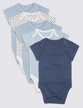 Marks and Spencer 5 Pack Pure Cotton Flat Seams Bodysuits