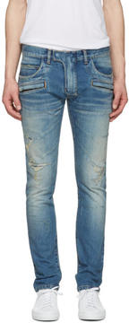 Balmain Blue Distressed Biker Jeans