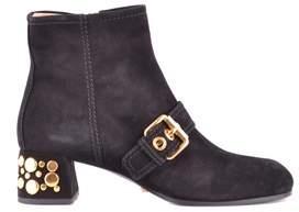 Car Shoe Women's Black Suede Ankle Boots.