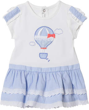 Mayoral White and Blue Hot Air Balloon Applique Dress