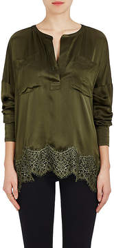 Faith Connexion Women's Silk Satin & Lace Blouse