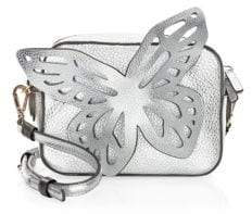 Sophia Webster Flossy Metallic-Leather Butterfly Camera Bag