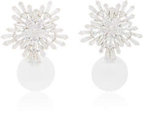 Fallon Starburst Rhodium And Crystal Pearl Drop Earrings