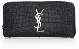 Saint Laurent Embossed Leather Continental Wallet - MARINE - STYLE