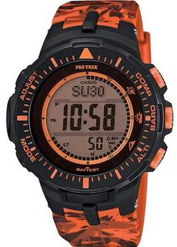 Casio Protrek Solar Triple Sensor Orange Camo Mens Watch PRG300CM-4CR