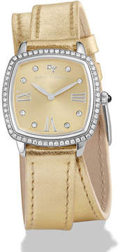 David Yurman 27mm Albion Diamond Leather Strap Watch, Golden