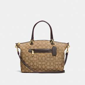 COACH COACH PRAIRIE SATCHEL IN SIGNATURE JACQUARD - KHAKI/BROWN/LIGHT GOLD