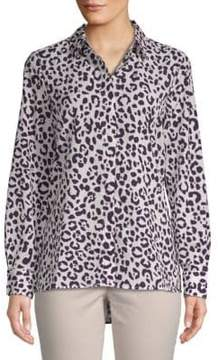 Ellen Tracy Leopard-Print Button-Down Shirt