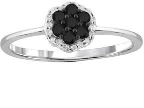 Black Diamond FINE JEWELRY 1/4 CT. T.W. White & Color-Enhanced Cluster Sterling Silver Ring