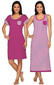 Carole Hochman As Is Garden Side Stripe Tank Maxi & Sleep Shirt Set