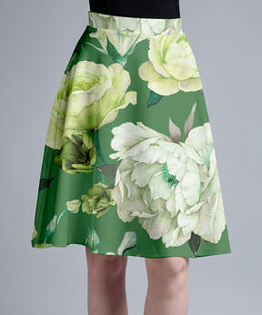 Lily Green & White Floral A-Line Skirt - Women & Plus